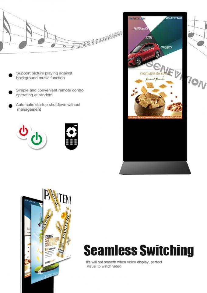 Touch Screen 55 Inch LCD Kiosk Wifi Digital Signage Android Media Player Totem