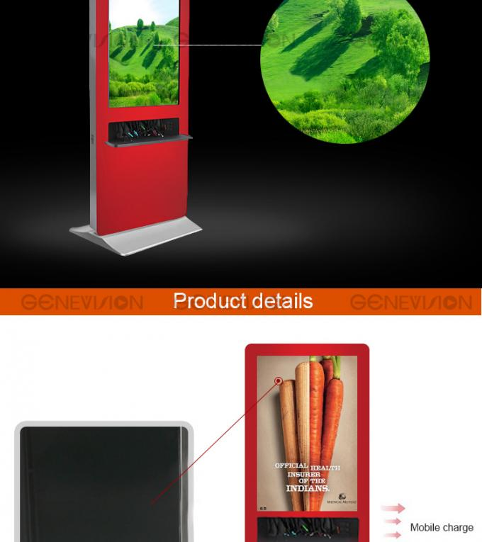 floor standing digital signage LCD ad player advertising and mobile phone charging station