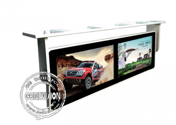 Double Screen Wall Mounted Lcd Bus Digital Signage Display Media Player Shockproof 18.5 Inch
