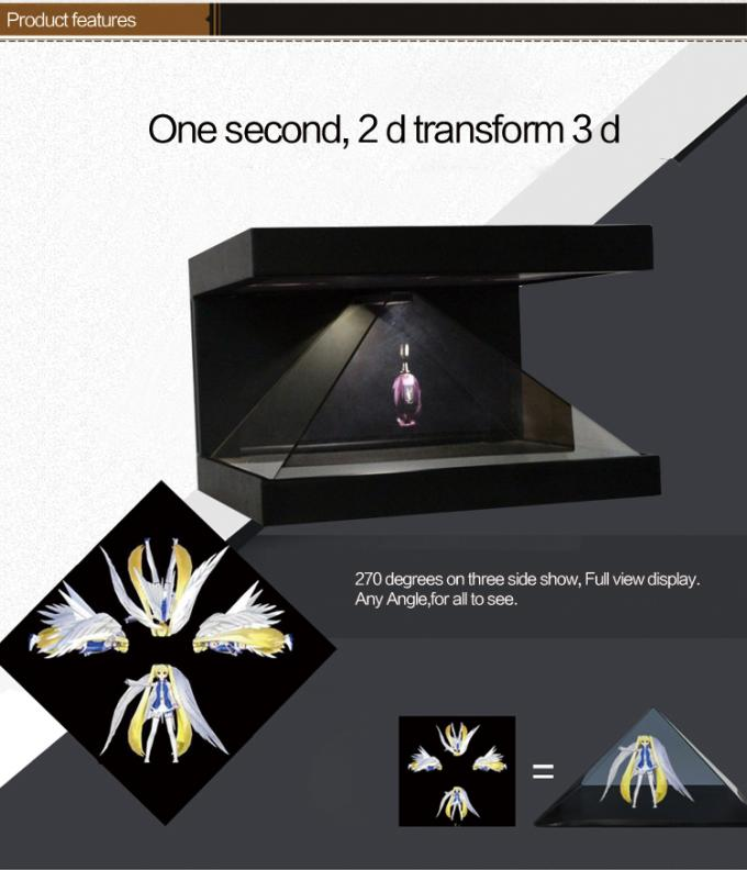 Full Hd 3d Holographic Display Showcase Hologram Advertising With Special Reflect Glass
