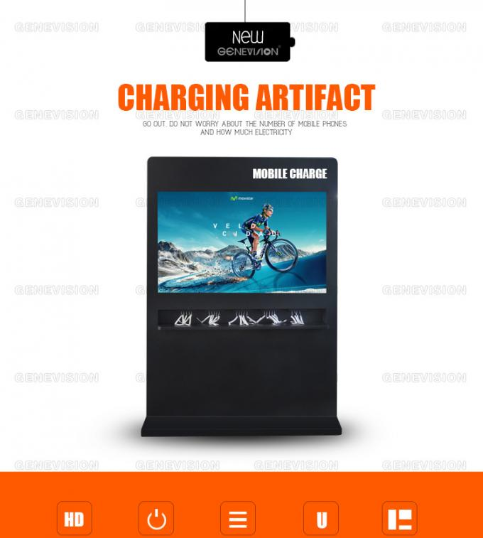 Mobile Charging Station Advertising Totem 65 inch Horizontal Media Player Kiosk Touch Computer