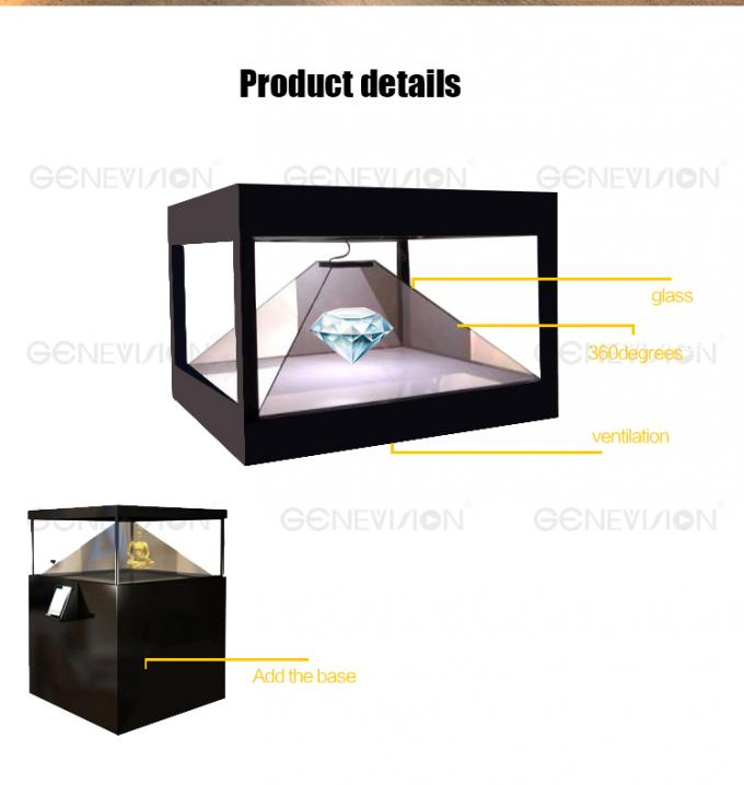 Full HD 360 Degree 3D Holographic Display Cabinet Plug Play Advertising