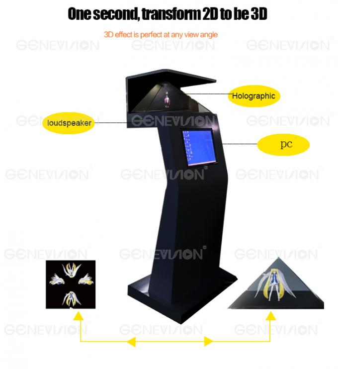 21.5 Inch Transparent 3d hologram screen Showcase , 60*60 Tempered 3d Hologram Projector
