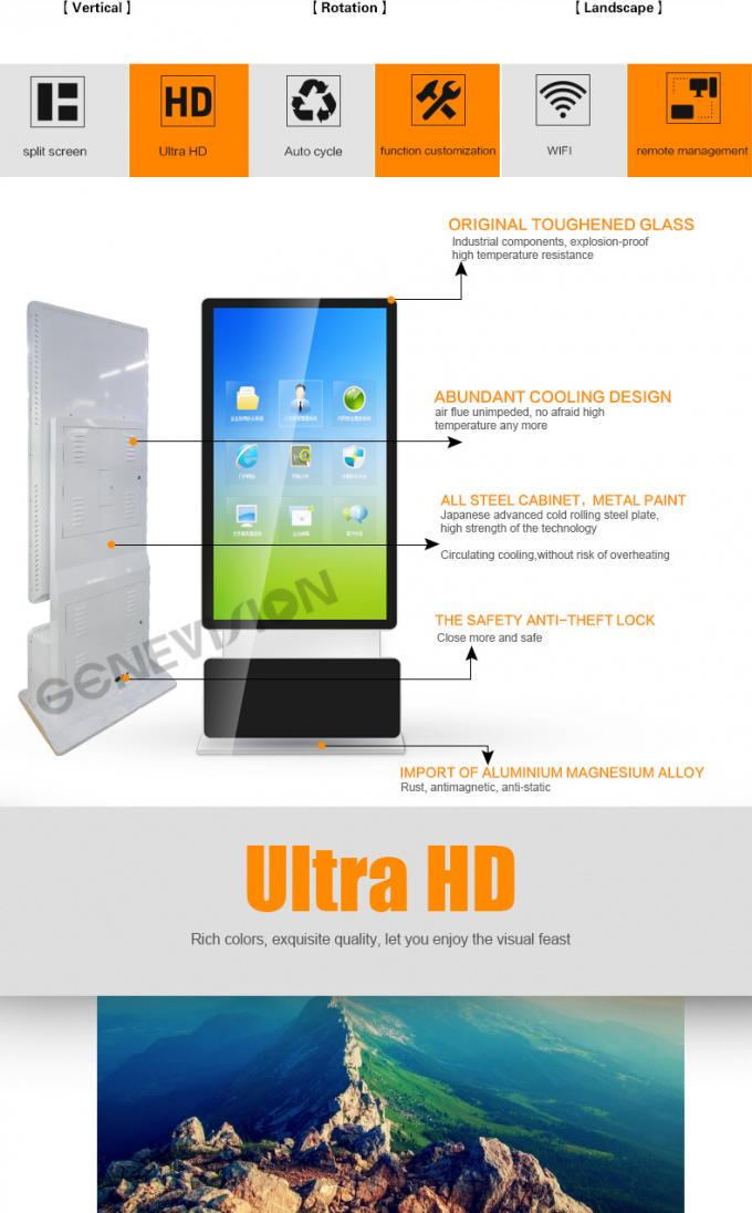 65 inch LCD Rotatable Screen WIFI Digital Signage Kiosk Indoor Totem Android Advertising Player touch optional