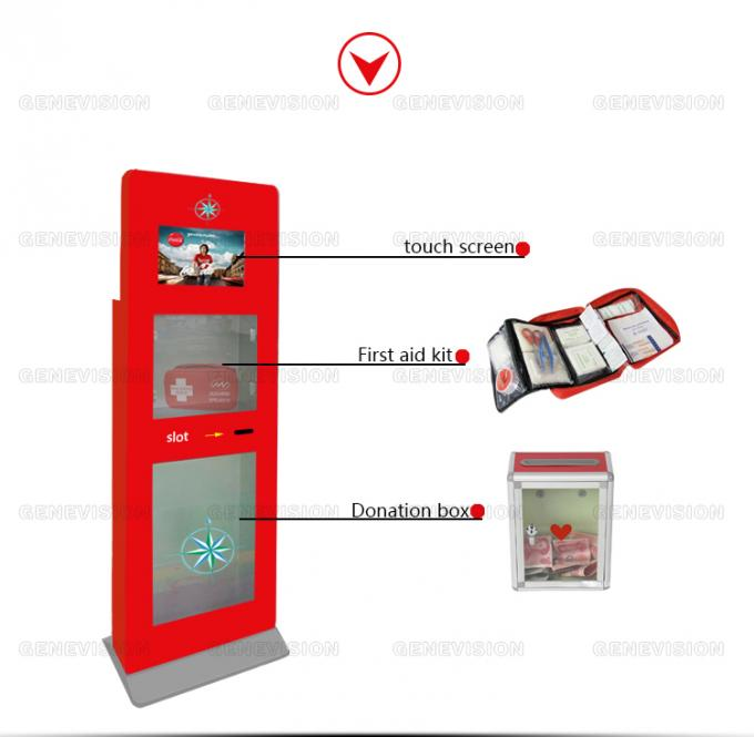 Advertising Standee Hd Touch Screen Kiosk Digital Signage Totem With Emergency Kit Box