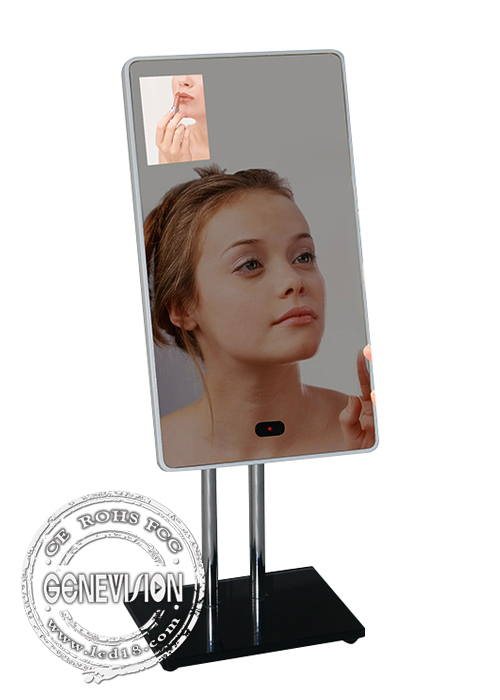 13.3 Inch Magic Mirror Advertising Player , Bathroom Body Sensor Mirror Media Player Android