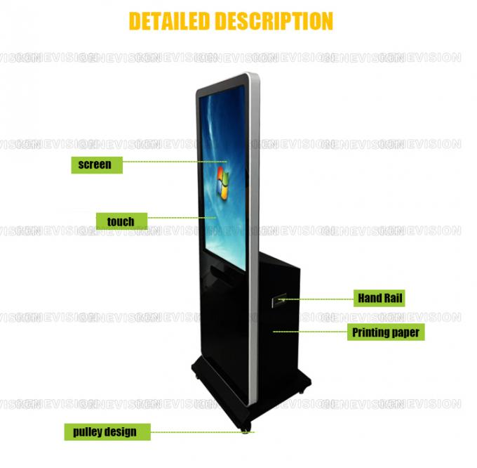 Wifi Network Touch Screen Kiosk , Indoor Floor Standing Lcd Advertising Machine