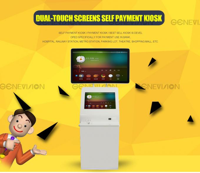 46+36 In Dual Touch Screen Kiosk Digital Signage Lcd / Self Sevice Payment Kiosk