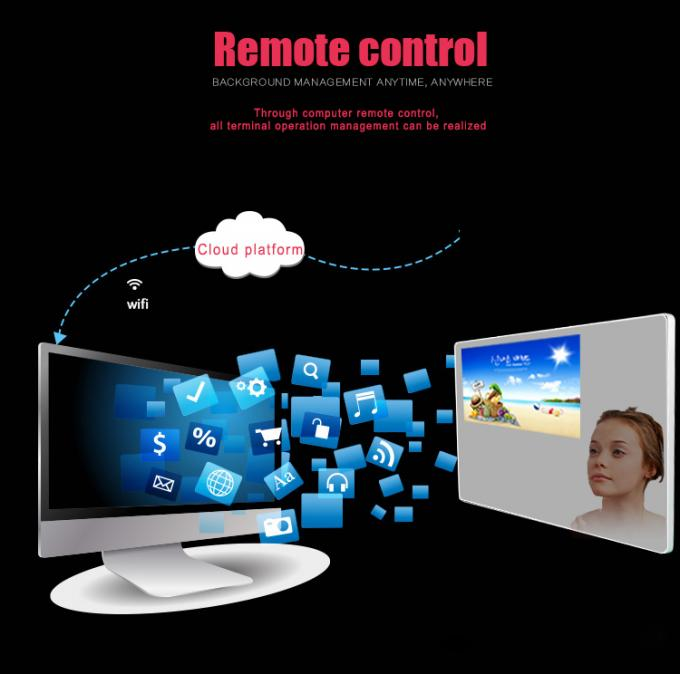 Magic Mirror Remote Control Wifi Digital Signage 43inch Bathroom Mirror TV Player with Body Sensor