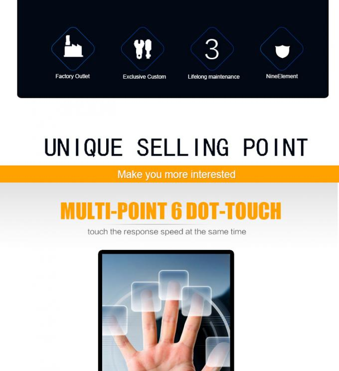 32 Inch - 84 Inch Shopping Mall Touch Totem Ir 10 Point Interactive Advertising Standee