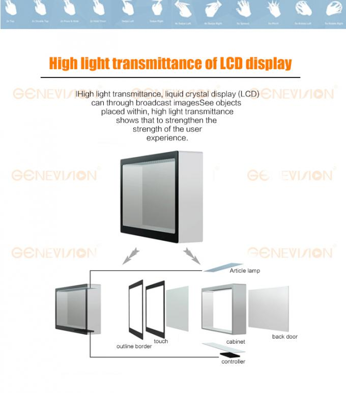 55 Inch Android Remote Control Transparent Display Box Flexible Advertising Equipment