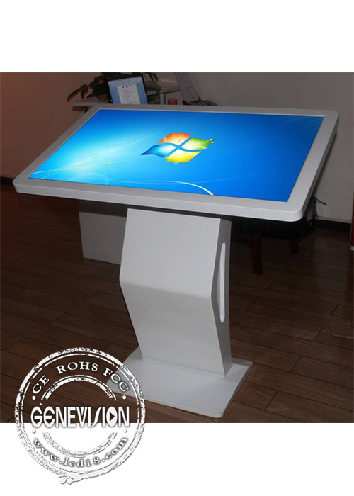 Black Windows10 55 Infrared Stand Up Computer Kiosk , Fast Speed Digital Query Machine