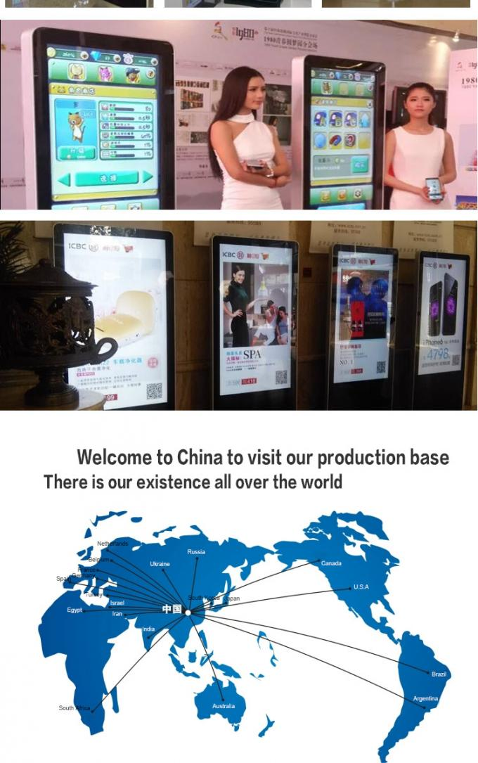 Super Thin Infrared Touch Digital Signage Kiosk Advertising Standee With LED Backlit
