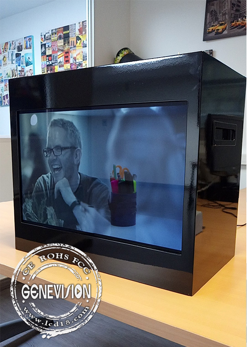 15 inch Portrait Transparent LCD Showcase USB Update with HDMI input
