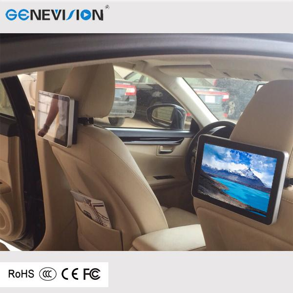 10.1 Inch Car Headrest Advertising Dispaly 1080p 3G Wifi Ultra Thin LED Digital Signage Remote Control