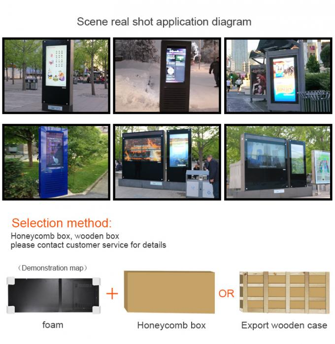 Red Colour Waterproof Outdoor Digital Signage Kiosk Display 55 Inch AR Anti Glare Glass