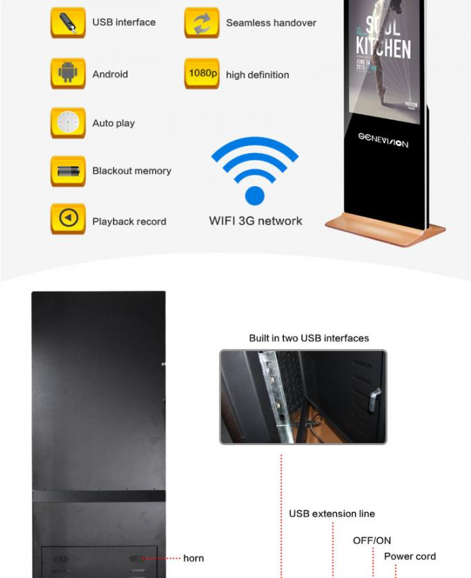 55 Inch Wifi Digital Signage Floor Stand Advertising Display 450cd/m2 Android Network