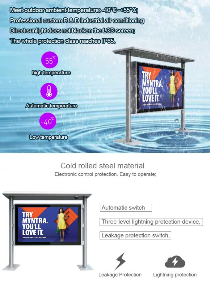 85 Inch Bus Station IP65 Outdoor Digital Signage 2000cd High Brightness LCD Kiosk