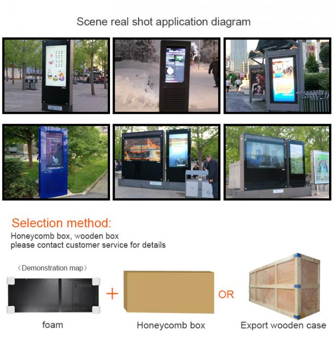 Touch Screen Digital Signage Kiosk Anti - Glare Glass 32 Inch Outdoor With Camera