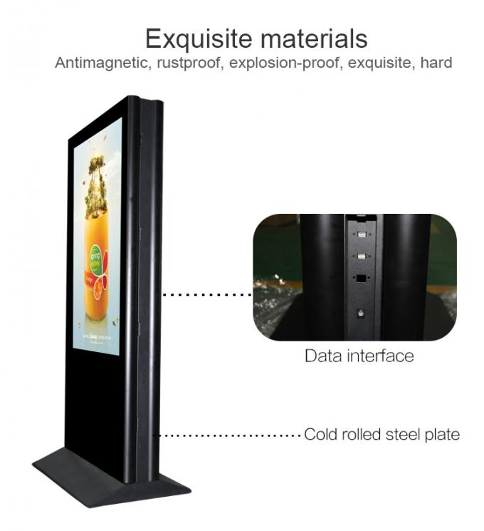 55 Inch Kiosk Digital Signage Floor Stand Dual Side Indoor LCD Advertising Screen