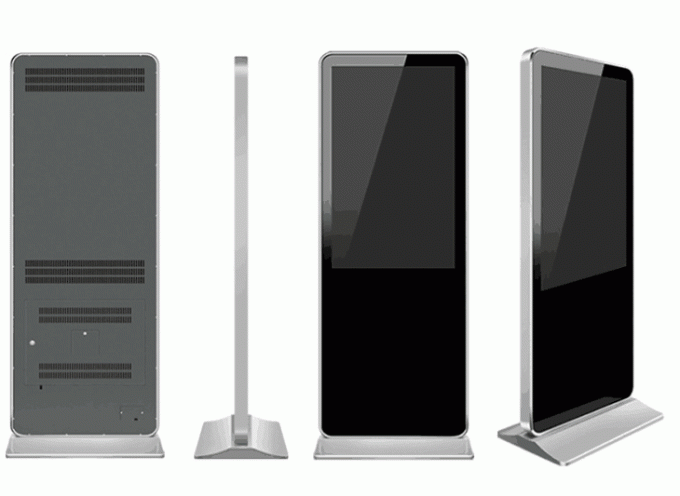 Battery Powered Digital Signage Floor Stands , Touch Screen Kiosk Stand 86 Inch Large Size