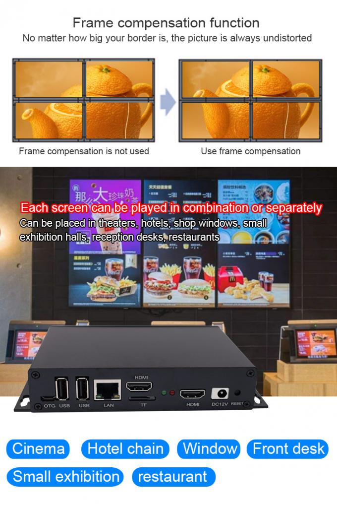 Android HD Media Player Box Streaming Splicing Video Processor For Irregular LCD Video Wall