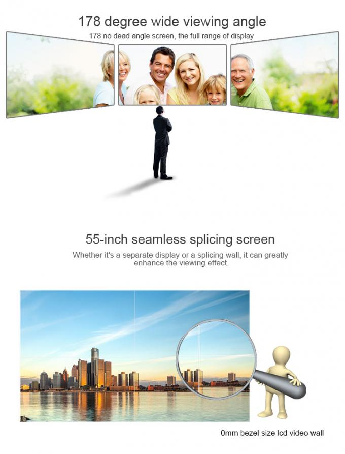 "Seamless Digital Signage Video Wall Monitor 55"" Loop Connection With DP / RS232"