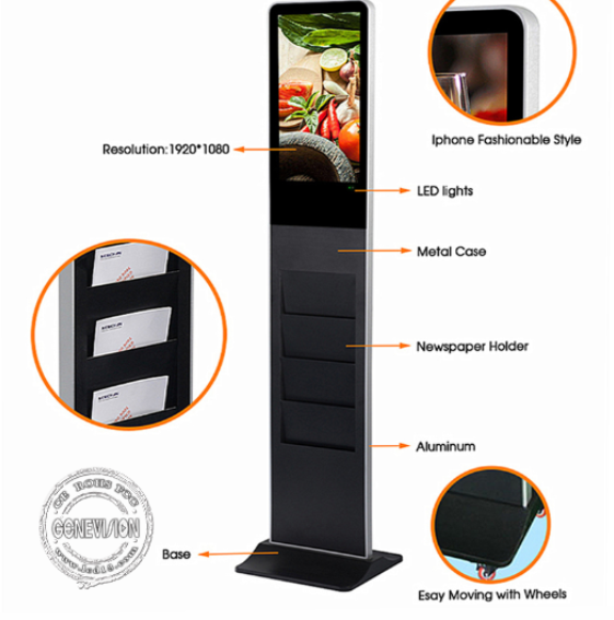 1920*1080P Kiosk Digital Signage Vertical Advertising Screen Free Standing Player