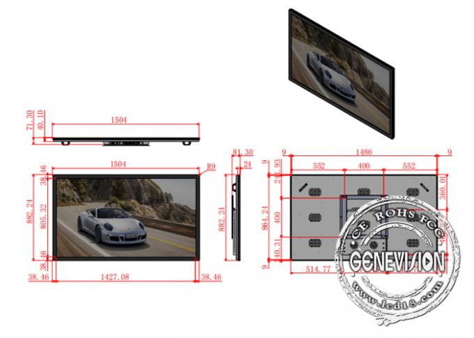 PC Wall Mount LCD Advertising Display 65 Inch Win 10 4G 400cd/2 Brightness