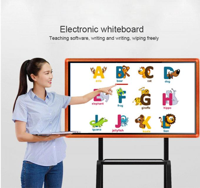 Conference Room AG Glass IR Touch Screen Terminals Super Thin Smart Interactive Display