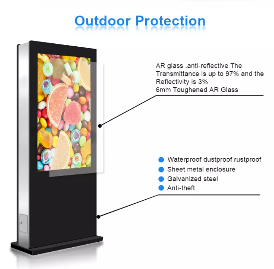 High Brightness LCD Screen Outdoor Digital Signage 55'' With Waterproof Cooling System