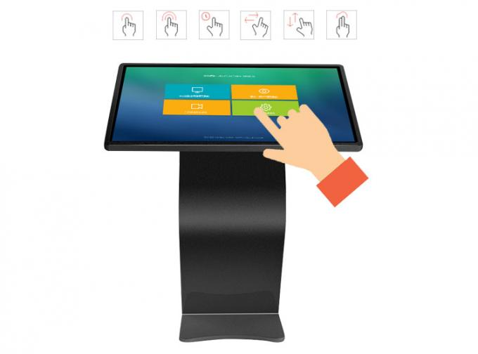 Black Windows 10 Interactive Touch Screen Kiosk 55 Inch With 5G For Exhibition