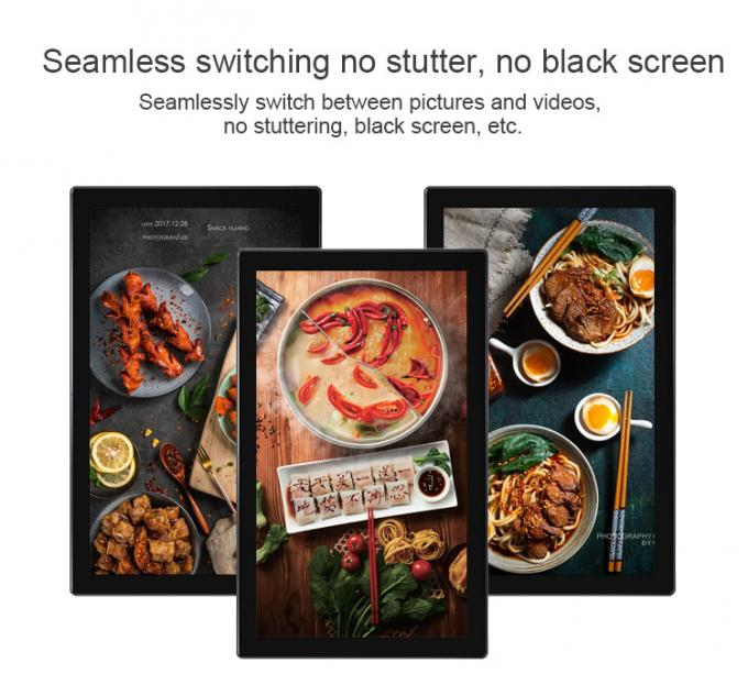 Full Black Wall Commercial Digital Signage Android 7.1 Mounted 49 Inch 400cd/M2 Brightness