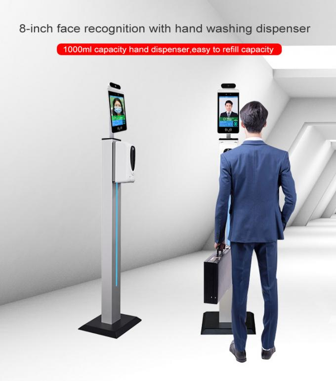 "8"" Thermometer Hand Sanitizer Dispenser Touch Screen Kiosk Facial Recognition Camera Body Temperature Measurement"