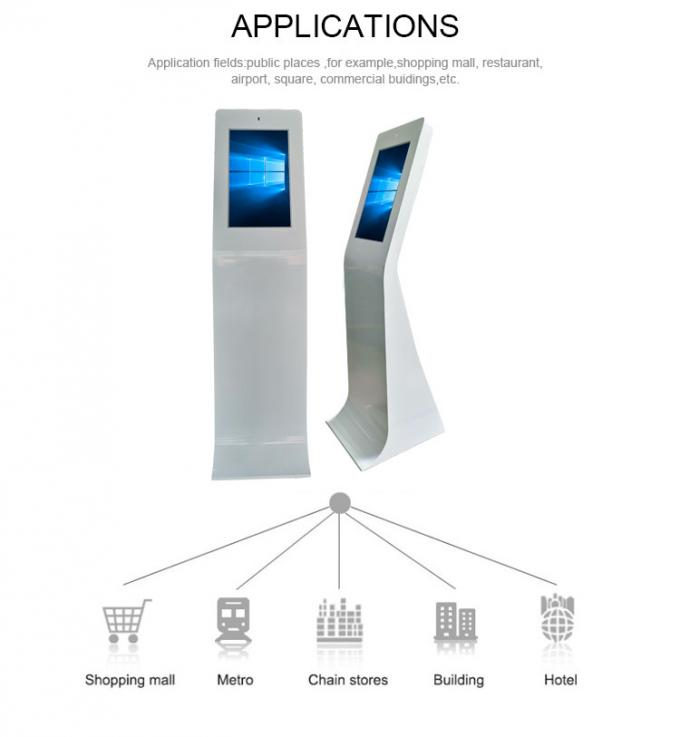 "Pure White Special Shape 27"" I5 PCAP Touch Screen Kiosk With Face Recognition Camera"