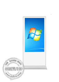 55 Inch Touch Screen Kiosk Remote Managing , White Android Touch Standee