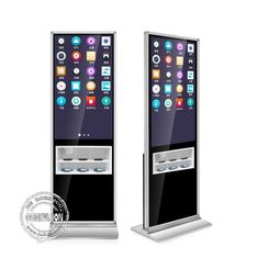 Black 43 Inch Advertising Kiosks Displays With Mobile Phone Wireless Charging Holder