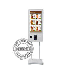 Self Service Ordering Touch Screen Monitor Kiosk 32 Inch With QR Scanner / Printer