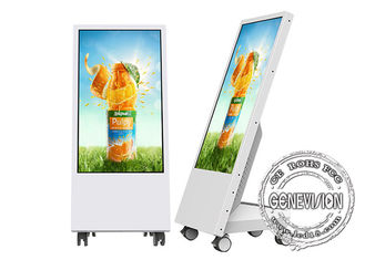 Full HD 1080p Kiosk Digital Signage Semi-Outdoor Mobile Kiosk 32'' With Battery / Wheels