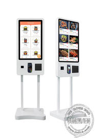 "32"" 43"" Self Ordering Interactive Touch Screen Payment Kiosk Floor Standing With Printer"