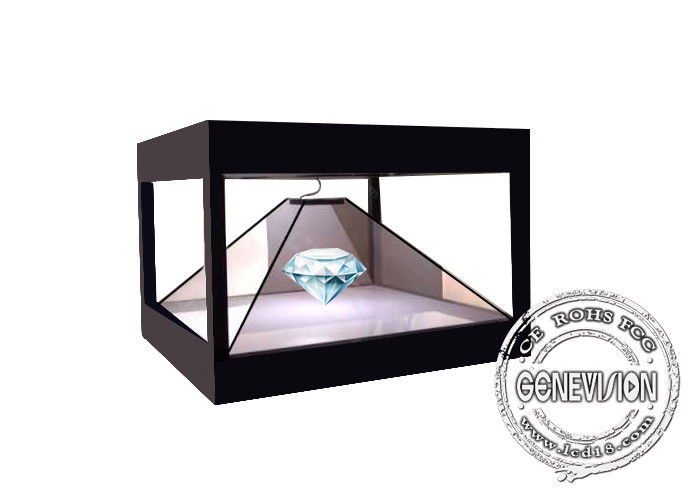 Full HD 3D 360 Degree Holographic Display Cabinet Plug Play , Advertising Pyramid Hologram