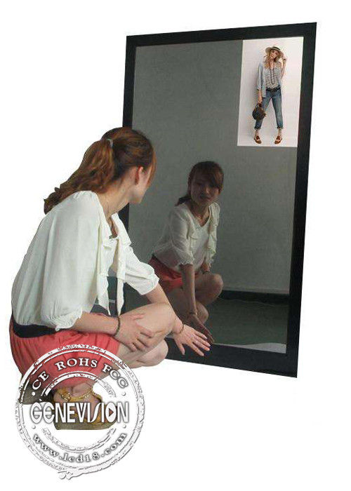 13.3 Inch Magic Mirror Advertising Player , Bathroom Body Motion Sensor Mirror Media Player Android
