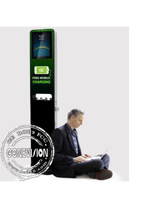 21.5 Kiosk Digital Signage Display Stands Cell Phone Charging Station Multi Media Ads