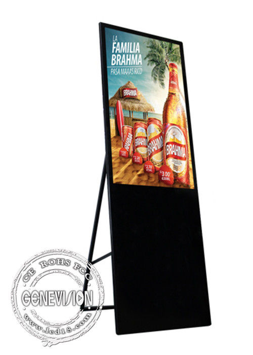 43 Inch Slim Shopping Mall Advertising Kiosks Displays Portable LCD Slant Floorstanding