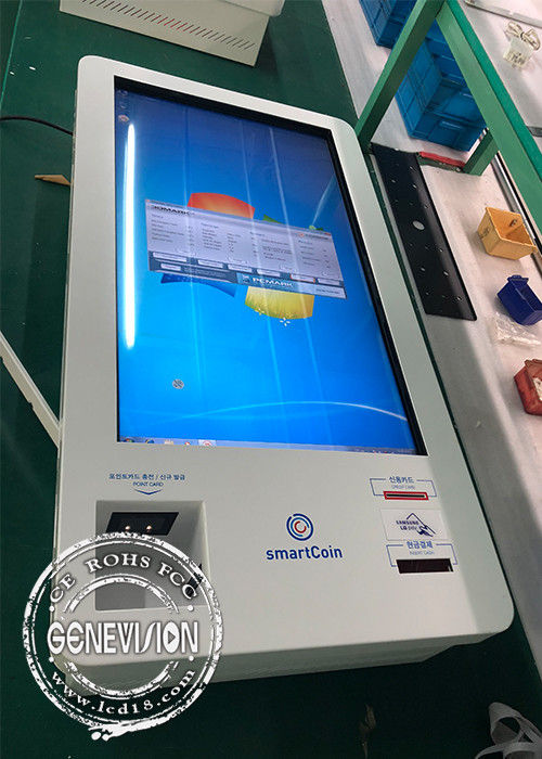 Korea Market 32 Inch Infrared Touch LCD Self Service Kiosk Windows Cash Receiver Payment Kiosk
