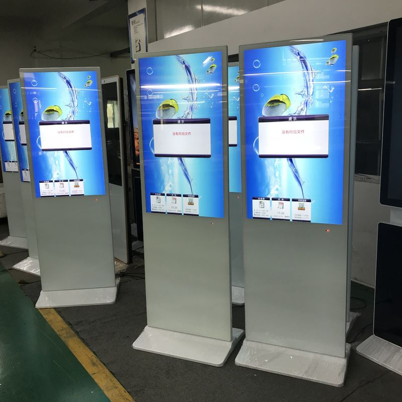 43 Inch Floor Standing Digital Signage Kiosk White Color Super Thin LCD Advertising Player