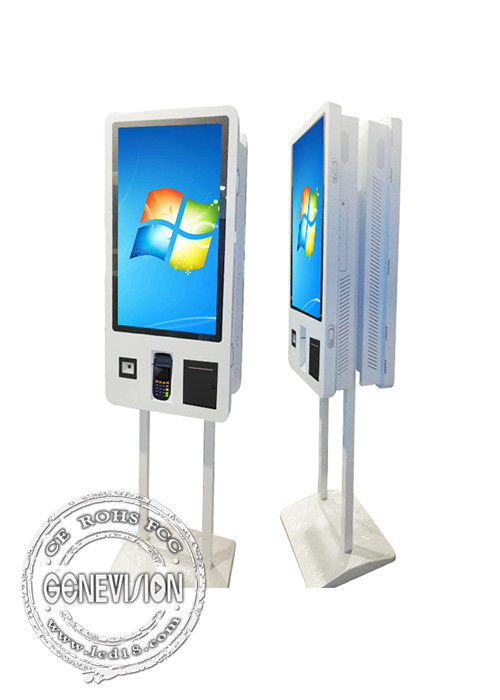 Metal Floor Standing Self Service Kiosk 32 Inch Double Side Screen With Stand