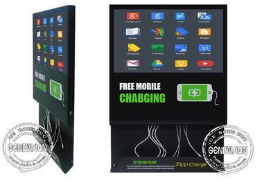 21.5inch Wifi Mobile Charging Cable inbuilt Advertising Screen, Android Remote Control Media Player Charging Station