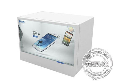 White Touch Screen Transparent Lcd Showcase With Android System / Remote Control