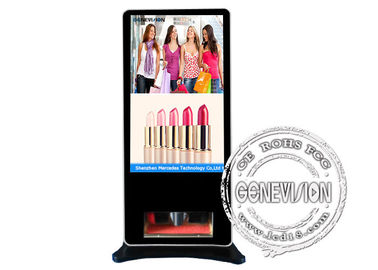 55inch Smart Touch Kiosk with Shoes Cleaner Interactive Android Advertising Standee with remote managing Software